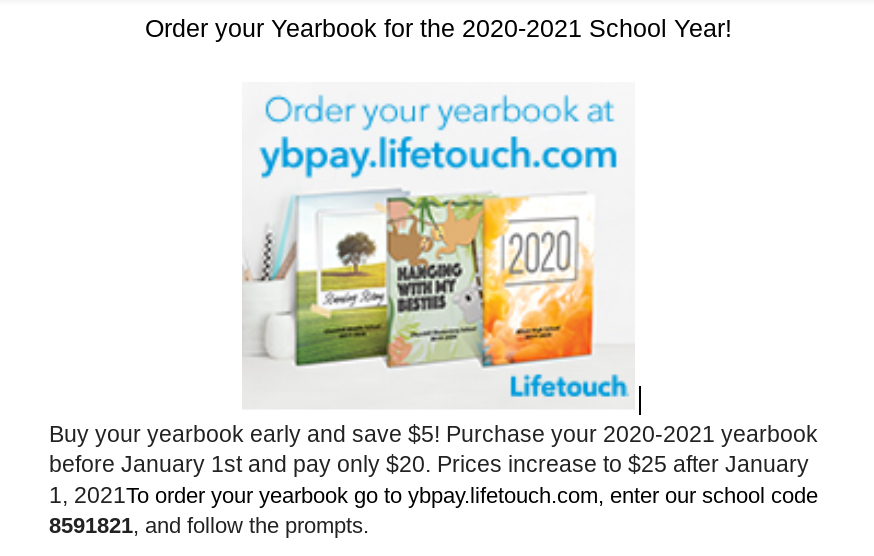 2020 yearbook purchase information